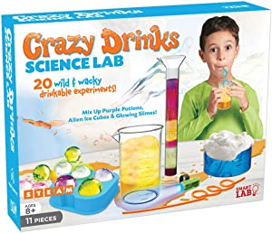 SmartLab Toys Crazy Drinks Science Lab - 11Piece - 20 Experiments - Includes UV Light & 2 Crazy Drink Straws!