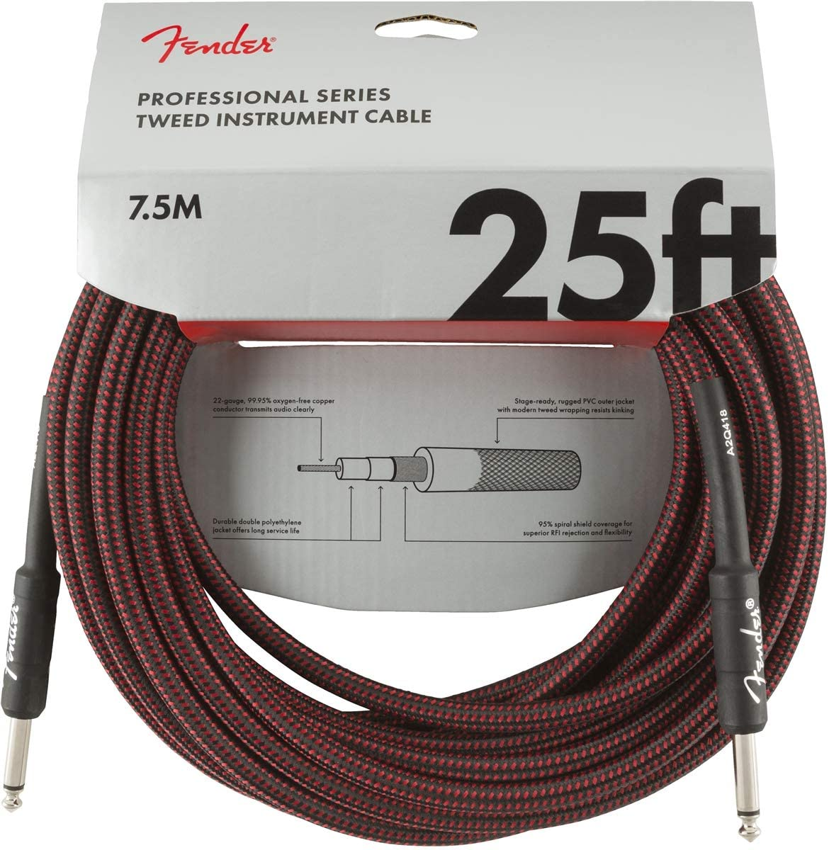 Red Tweed Fender Professional Series Cable