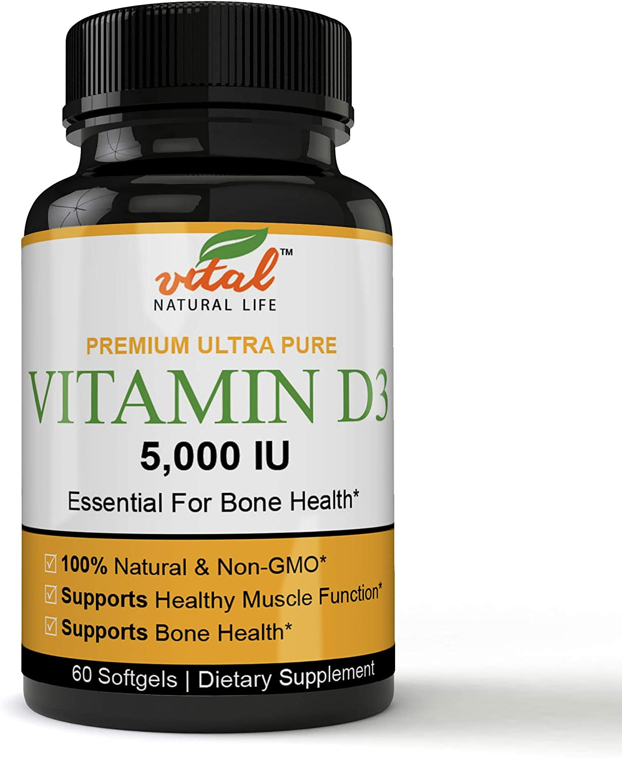 Highly Active Vitamin D3 5000 IU Formulation, Superior Absorption - Certified Organic, 60 Mini Soft-gels per Bottle, Non-GMO, Soy Free, Gluten Free, Supports Immune Function & Healthy Bones + Teeth