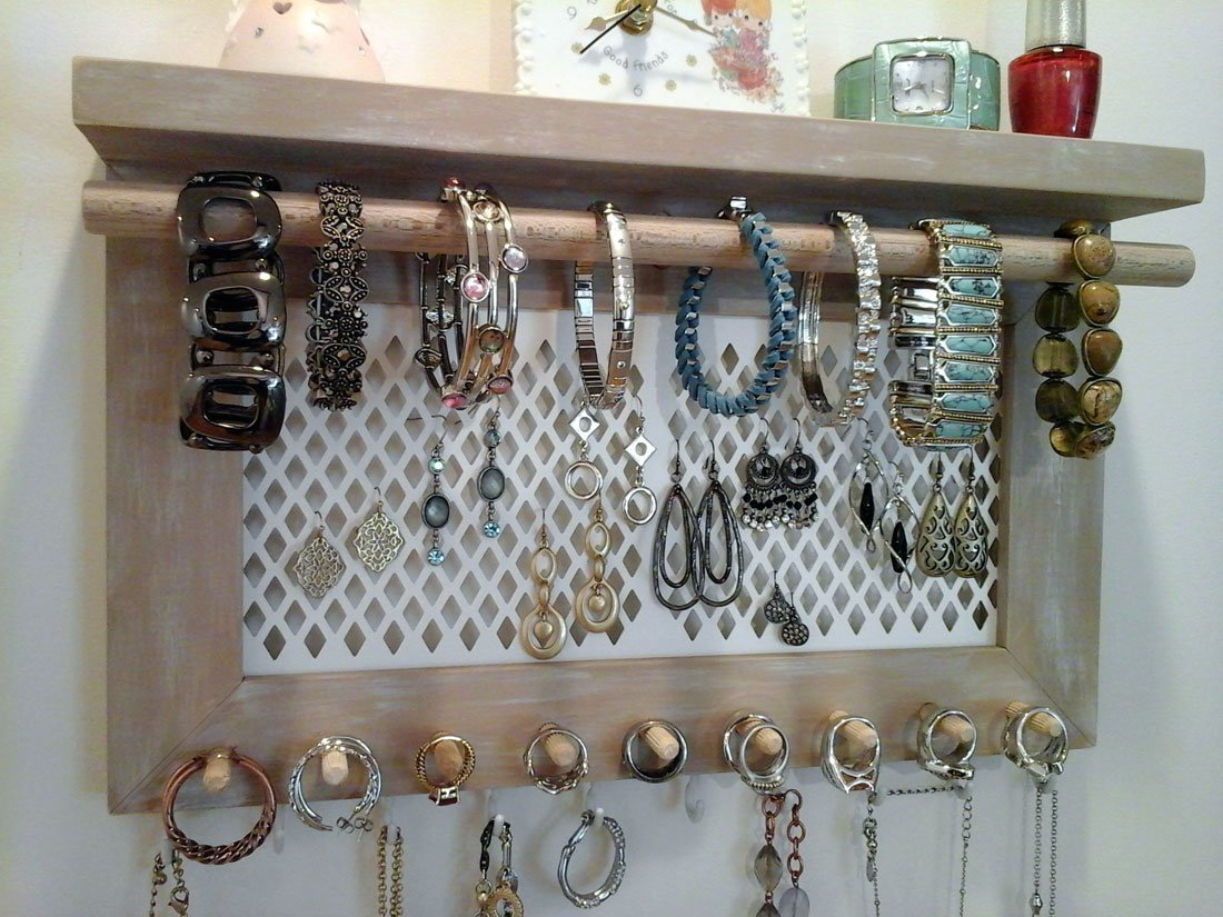 Jewelry Organizer Wall Mount Necklace Bracelet Ring Earring Holder. All in One Wall Hanging Jewelry Organizer Display. Unique One of a Kind!