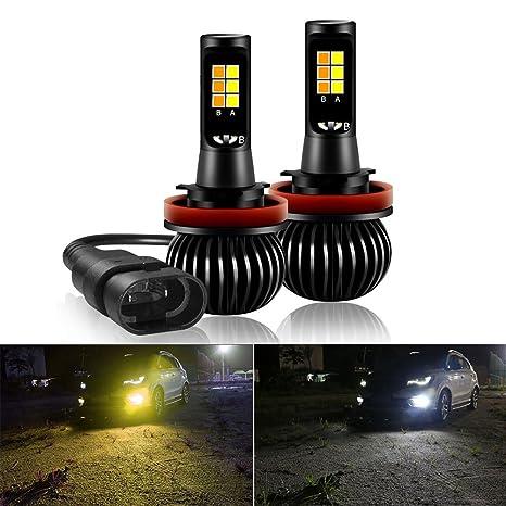 Bombilla LED antiniebla Mesllin, 40W 12V Alta potencia LED Antiniebla Automóviles color doble H8 H9