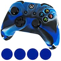 FIOTOK Leading Star New Silicone Cover Case, Skin Controller and Grip Stick Caps for Xbox One, Camo Blue