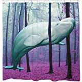 Beluga whale shower curtain cute bathroom decor nautical theme gift for kids
