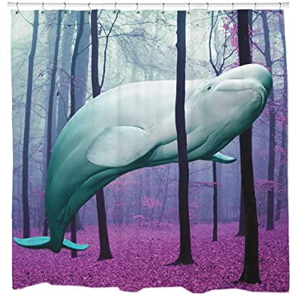 Beluga Whale Shower Curtain Cute Bathroom Decor Nautical Theme Gift For Kids