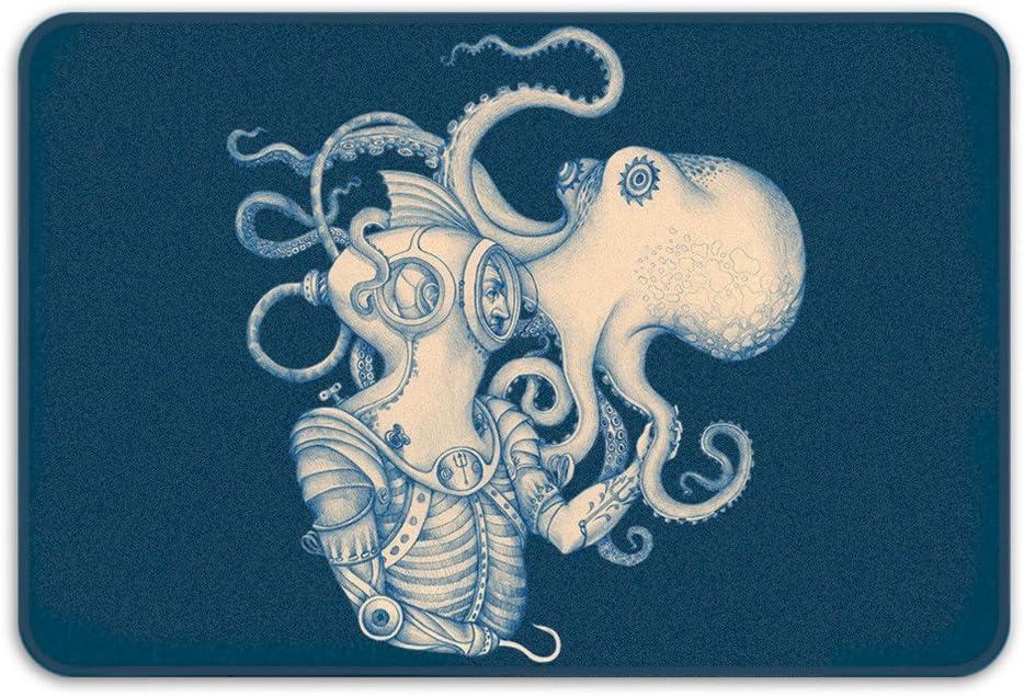 Sharp Shirter Memory Foam Bath Rug Steampunk Octopus Bathroom Decor Nautical Rug Ocean Theme Blue Bath Mat
