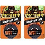 "Gorilla 6055016 6055001-2 Double-Sided Heavy Duty Mounting Tape (2 Pack), 1"" x 60"", Black"
