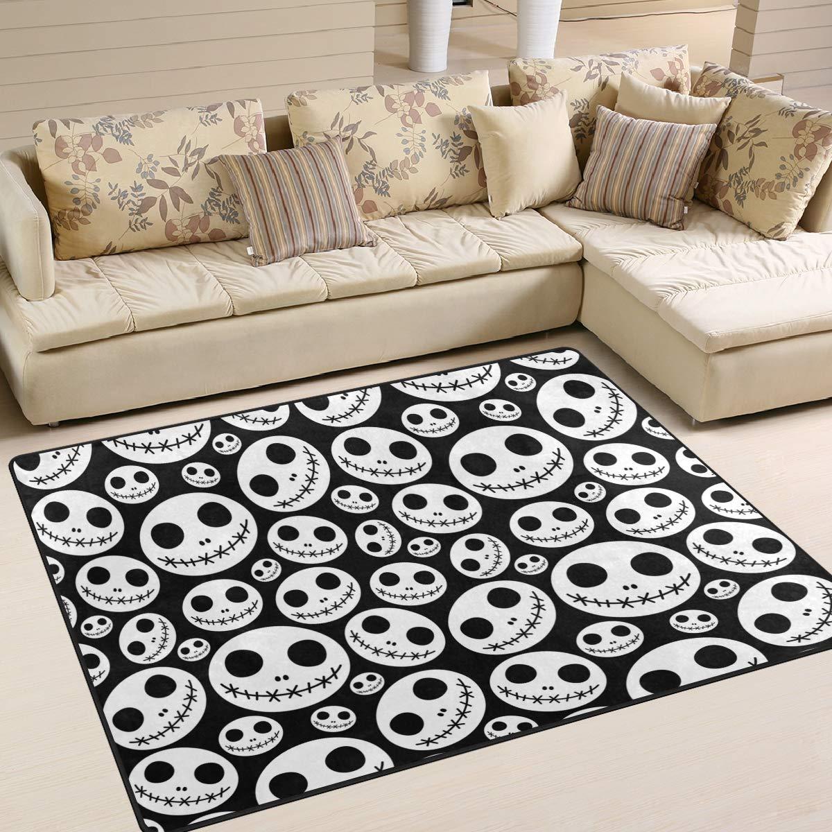 Jereee Halloween Horror-Puppen-Teppich, 152 x 122 cm, Fußmatte, für den Innenbereich, Polyester, Rutschfest, mehreckig, für Küche, Schlafzimmer, Wohnzimmer und Esszimmer, Polyester, Multi, 7' x 5'