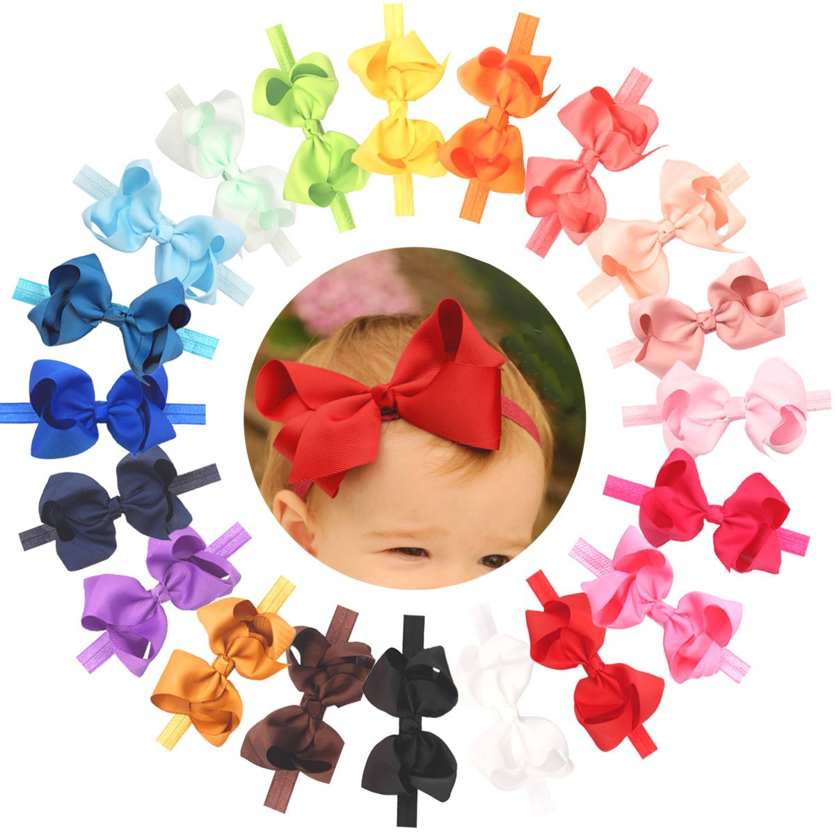 Baby Girls Toddler Hair Bows Headbands Large Pack of 20 Soft Elastic Stretchy Hair bands