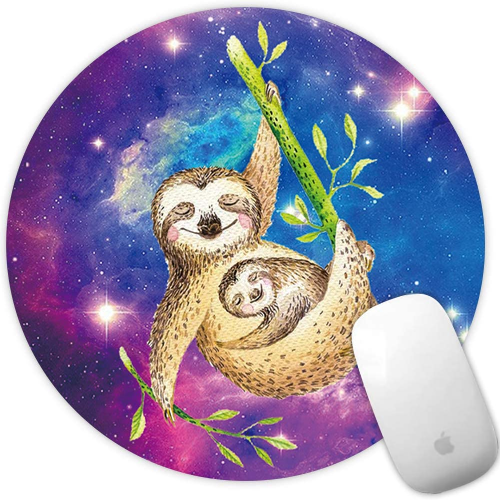 Marphe Mouse Pad Mousepad Non-Slip Rubber Gaming Mouse Pad Round Mouse Pads for Computers Laptop (Nebula Sloth)