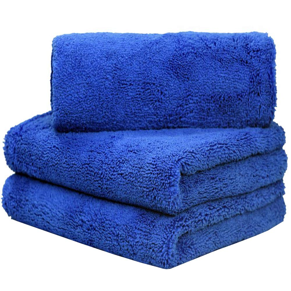 LIRITE Microfibre Car Cleaning Towels Super Absorbent Car Drying Towels Car Wash Cloths Plush Thick Buffing Waxing Polishing Cloths Ultra Soft Car Detailing Cloths 380gsm 40cmx60cm 3-pack Blue