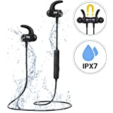 Mpow Magnetic Bluetooth Earphones Wireless, IPX7 Waterproof Running Headphones [Up to 8Hrs] Durable Sports Earbuds Easy In-line Control & Hi-Fi Stereo for Gym Workout with Noise Cancelling Mic