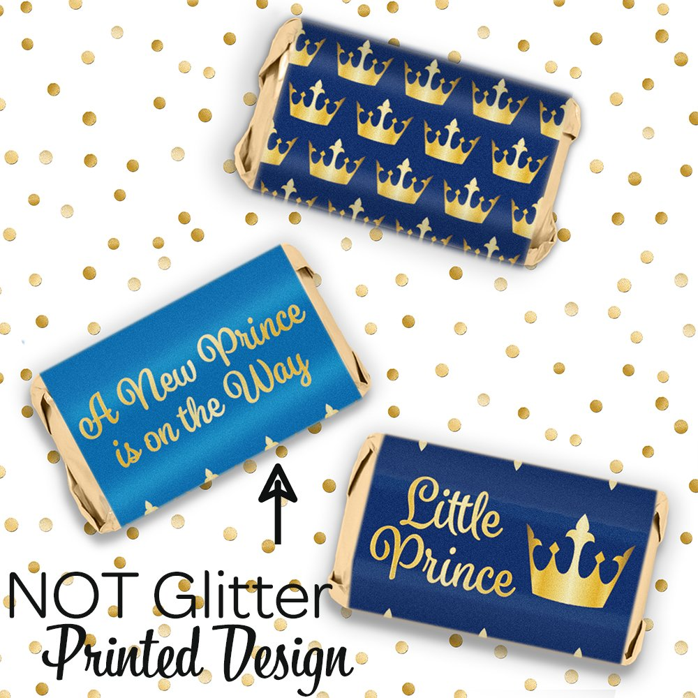 Little Prince Royal Baby Shower Mini Candy Bar Wrapper Labels 54