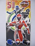 COLOURFUL POWER RANGERS 5 TODAY 5TH ACTIVITY BIRTHDAY GREETING CARD & BADGE