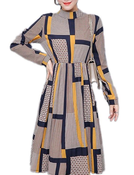 Bohemia Long Sleeve Midi Plaid Chiffon Dress