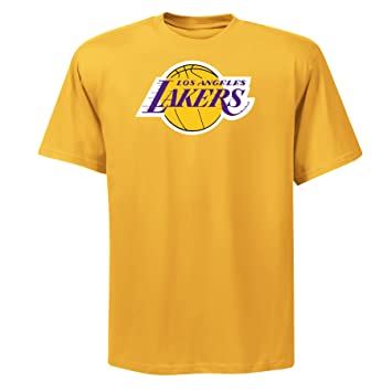 NBA para hombre los angeles lakers Magic Johnson reproductor nombre y # Oro Amarillo manga corta
