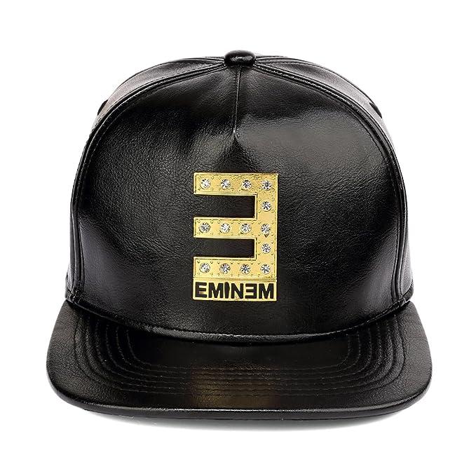 MCSAYS Hombre Gorra de béisbol Eminem tachonado de ala Crystal Snapback hebilla de cinturón de cuero de la PU brillante sombrero plano krGwOQT