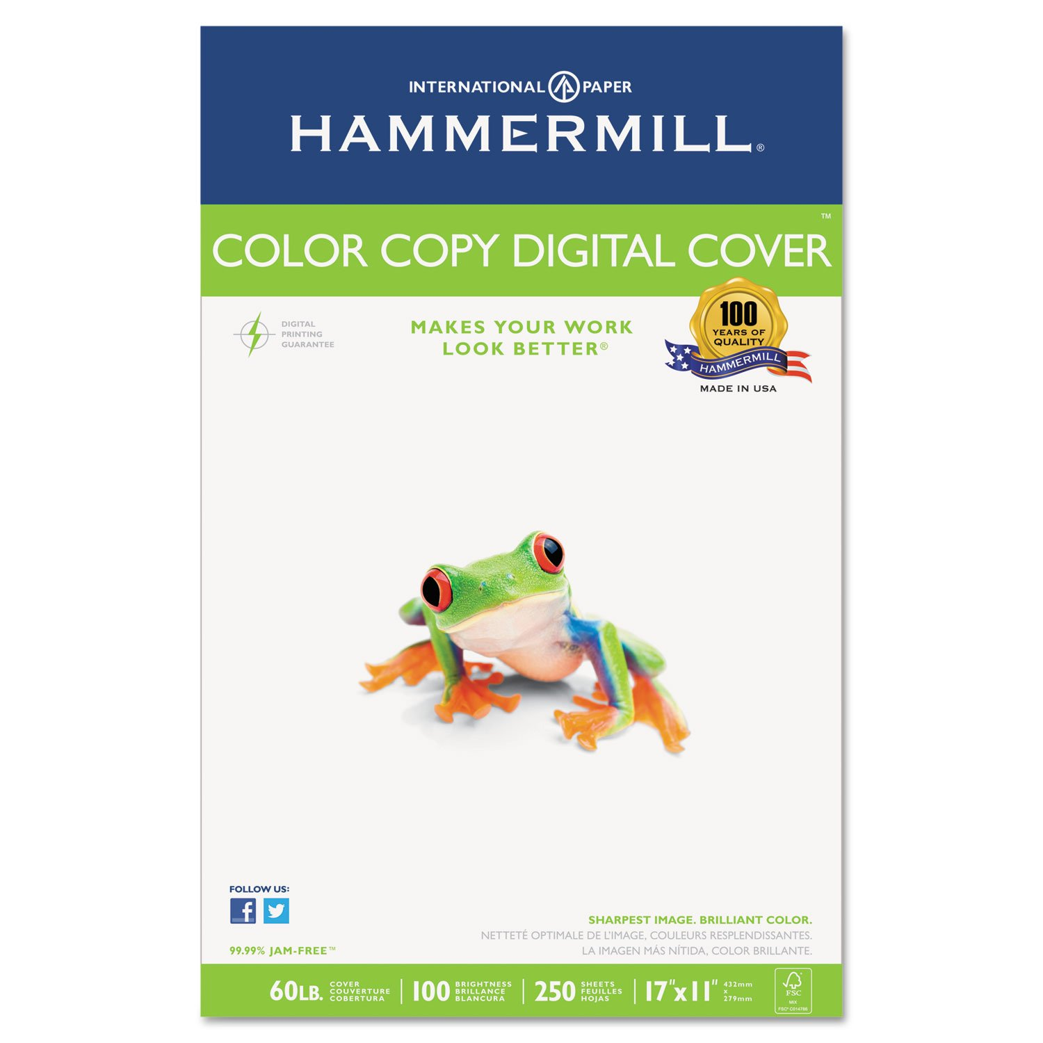 Hammermill 122556 Copier Digital Cover Stock, 60 lbs, 17 x 11, Photo White, 250 Sheets