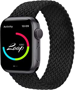 AZKEY Solo Loop Sport Band Compatible with Braided Apple Watch Band 38mm 40mm, Soft Sport Replacement Wrist Band Compatible for iWatch Series 6/5/4/3/2/1/SE Black No.3 38mm