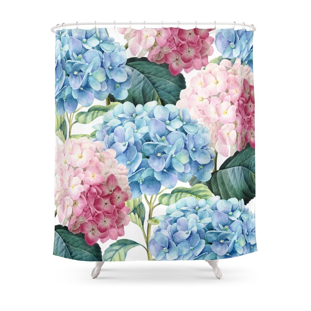 """Society6 Pink Blue Hydrangea Shower Curtain 71"""" by 74"""""""