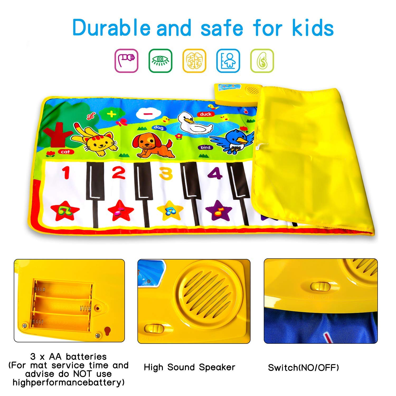 M SANMERSEN Piano Music Mat, Music Dance Mat, Keyboard Play Mat, Animal Blanket Carpet Playmat, Musical Touch Play Game Gifts for Kids Toddlers Girls Boys, 53'' x 23'' by M SANMERSEN (Image #4)