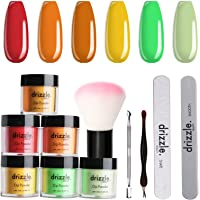 Drizzle 6 Colors Dip Powder Nail Set, Rainbow Dipping Powder Set Nude Collection for DIY Salon Nail Art Manicure-Ideal…
