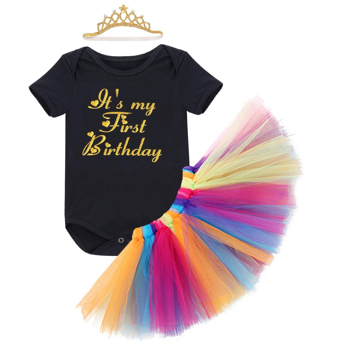 3pcs Ragazze Cerimonia Carnevale Bambina che coprono insieme Body& Bubble Gonna& Unicorn Corona cerchietto bambino per il Battesimo Matrimonio primo compleanno da tutù Costume principessa Pigiama Set