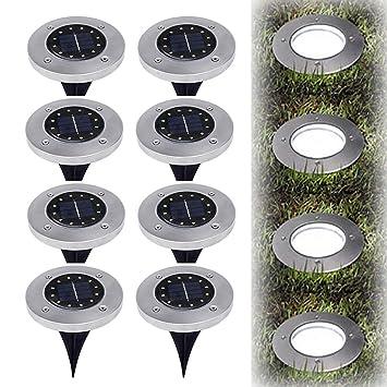 Solarbetriebene Bodenlichter, Geführt In Bodenlichtpfosten Im Freien  Wasserdichte Landschaft Garten Spike Pathlights Für Rasen Hinterhof
