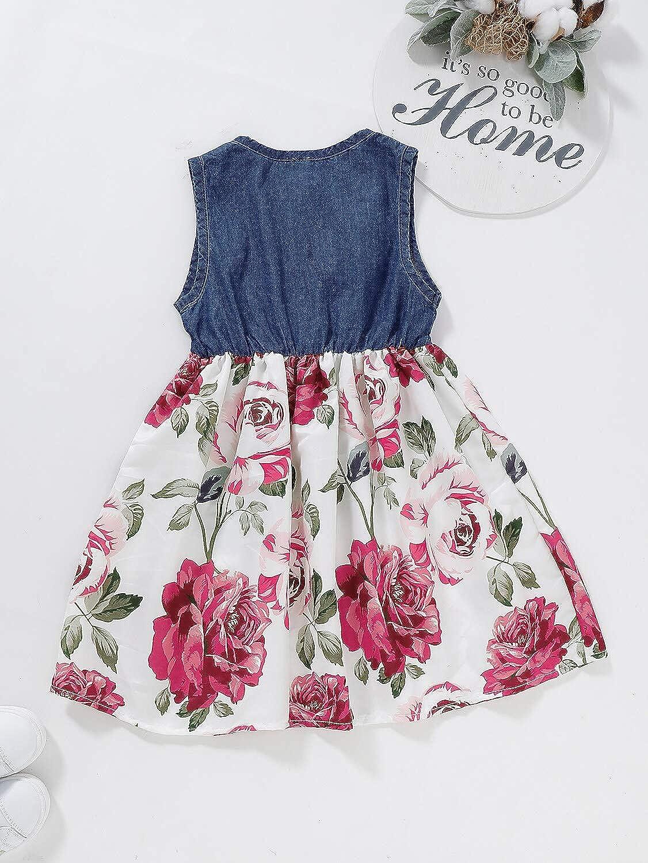 YOUNGER TREE Toddler Baby Little Girls Princess Dresses Summer Sleeveless Casual Denim Dress Floral Print Tutu Skirts