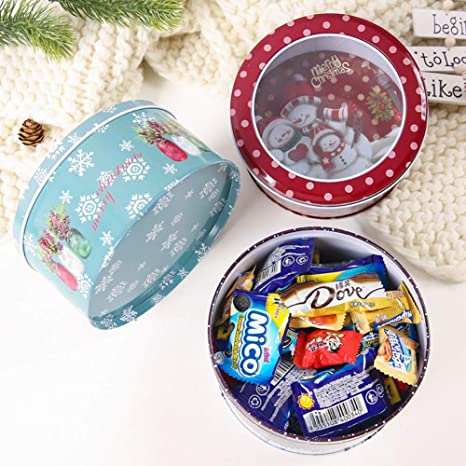 Christmas Metal Candy Box Round Cookie Tin Case Containers With Clear Window Lid