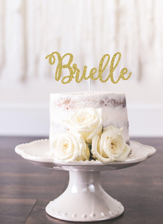 Customizable Gold Glitter Name Cake Topper - Choose any color glitter