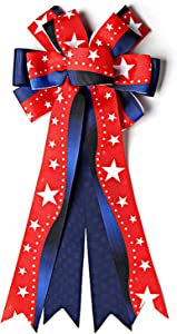 Patriotic Wreath Bow 4th of July Ribbon American Stars Tree Topper Bow Gift Bows for Memorial Day Labor Day Veterans Day Independence Day Home Indoor Outdoor Party Favors Decorations