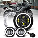 7 inch LED Headlight Fog Passing Lights DOT Kit Set Ring Motorcycle Headlamp Ring for Harley Davidson Touring Road King…