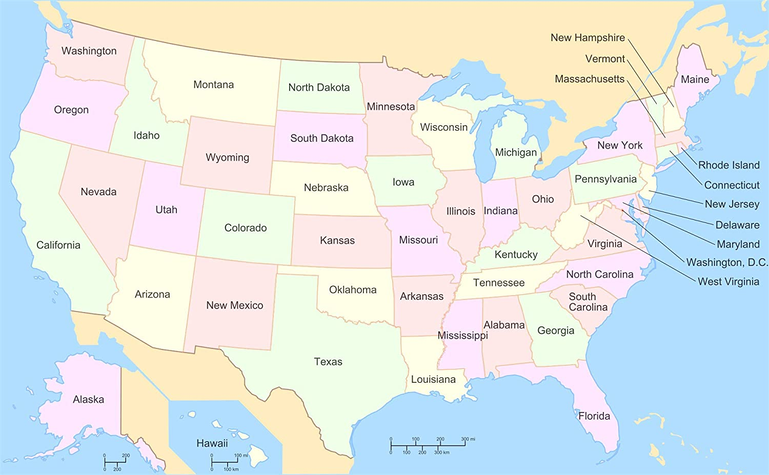 Amazon.com: Home Comforts Laminated Map - Us Map Labels States Maps ...