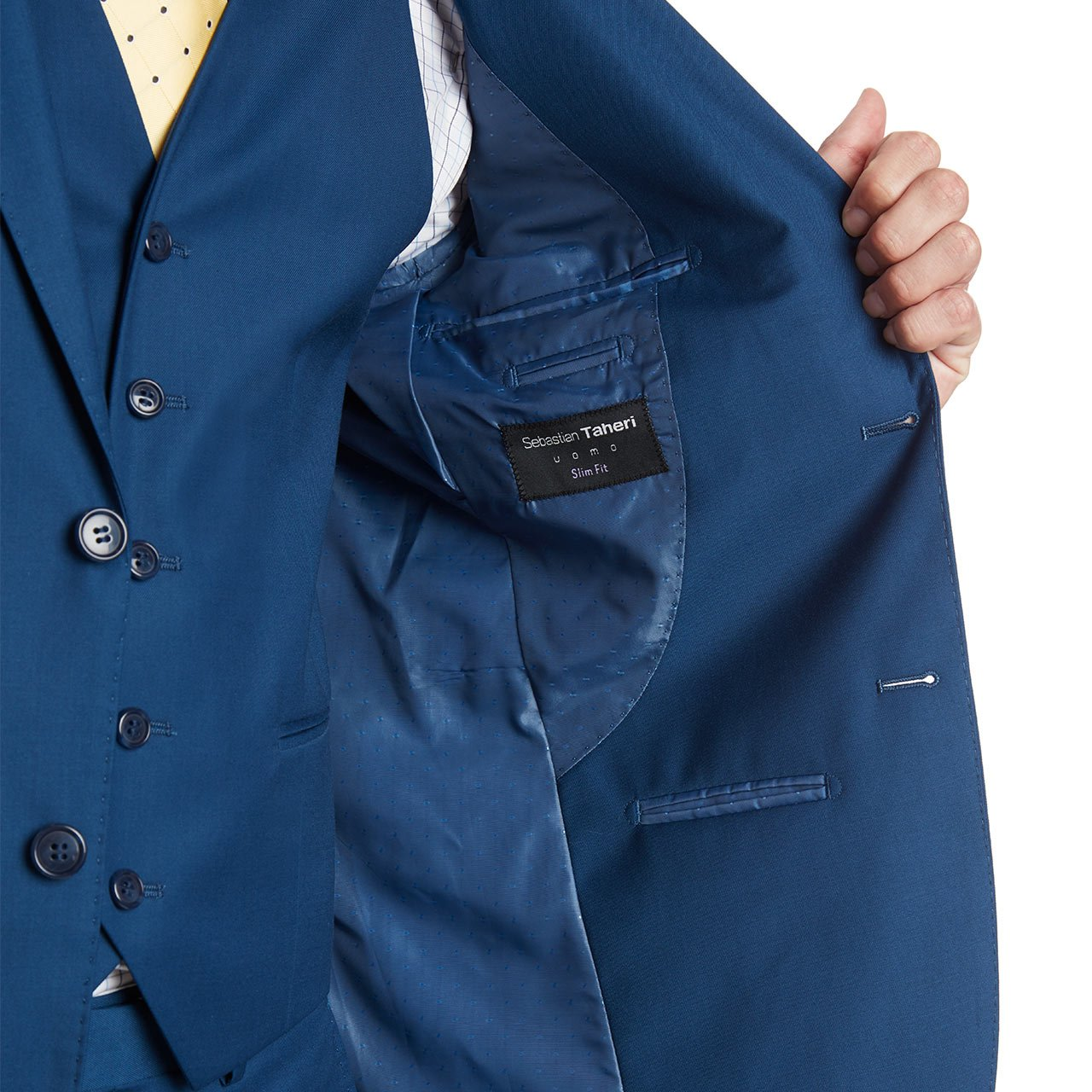 Mens Slim Fit Notched Lapel 3 Piece Suit Set Designed by Taheri French Blue 80/20(US 36R / EU 46R / Waist 30) by Sebastian Taheri Uomo (Image #5)