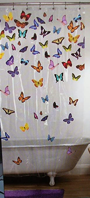 Amazon.com: Beautiful Bright Butterfly Vinyl Shower Curtain: Home ...