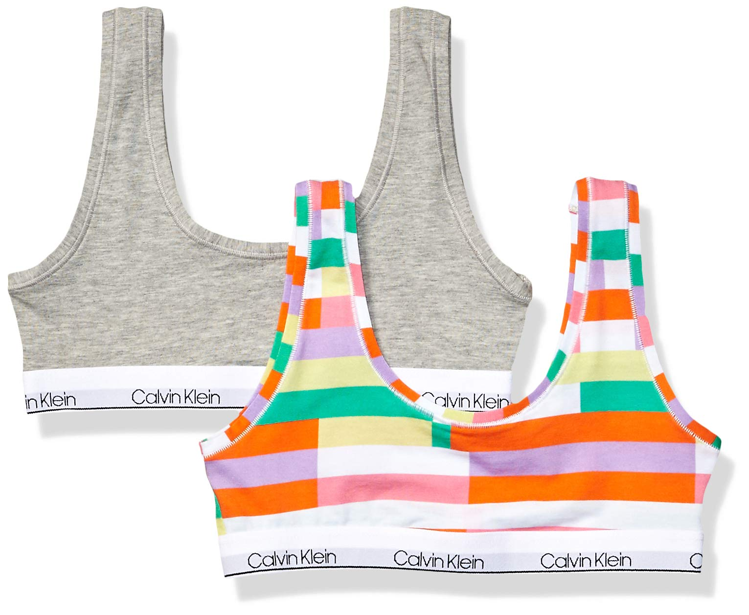Calvin Klein Little Girl's Modern Cotton Bralette Underwear,  Fragment Print White, Heather Grey, X-Large, (pack of 2) by Calvin Klein