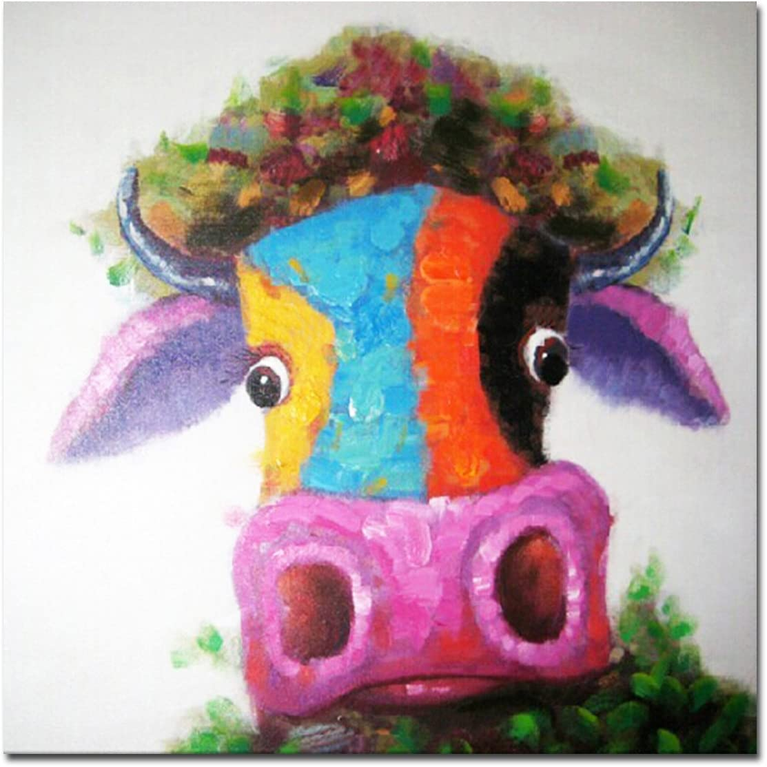 Muzagroo Art Hand-Painted Oil Painting on Canvas Happy Cow Art Decor for Living Room Ready to Hang 32x32in