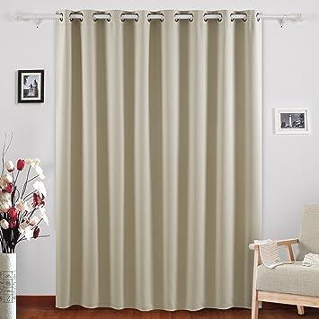 Deconovo Blackout Drape Wide Width Grommet Curtains Bedroom Curtains For  Windows 100 X 84 Inch Beige