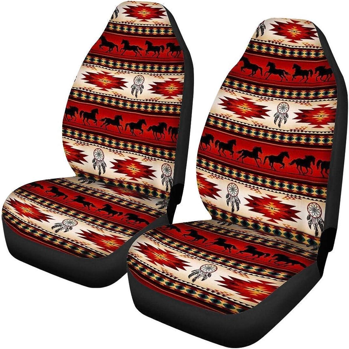 Funda de asiento azteca para nativos americanos Baja Navajo Manta de silla de montar de caballo tribal africano Tejido Funda de asiento de cubo universal Juego de 2