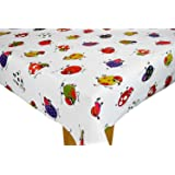 Funky Cows Vinyl Tablecloth Table Cover By Karina Home (200cm X 137cm,  White Background
