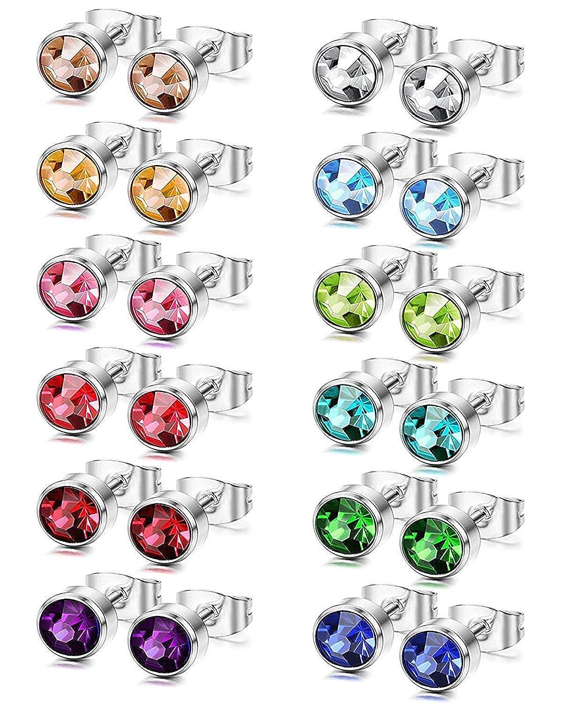 12 Paires Acier Inoxydable Boucle d/'Oreille pour Femme Fille Homme Clou d/'Oreille Anneau Piercing Oreille Zirconium 6MM