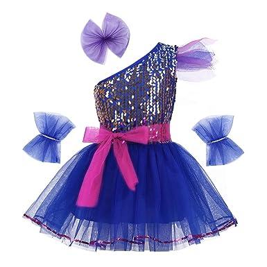 FEESHOW Justaucorps de Danse Gymnastique Fille Tutu Ballet Robe Justaucorps  de Danse Classique à Bretelle Pailletes 2f5dc084fb5