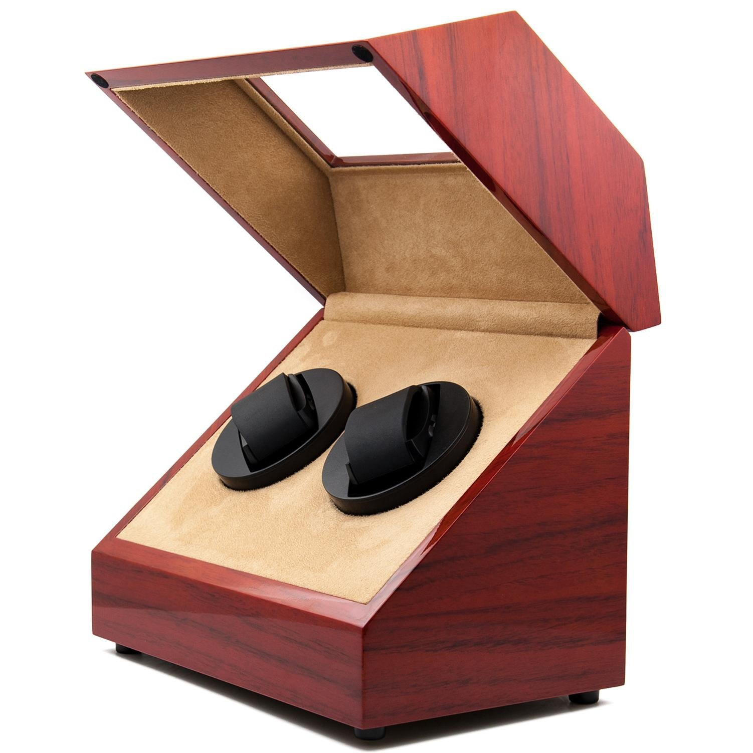 KAIHE-BOX Classic Watch Winders for 2 Watches for automatic Watch Winder Rotator Case Cover Storage(2 color,ww-02132) , Red by KAIHE-BOX (Image #1)