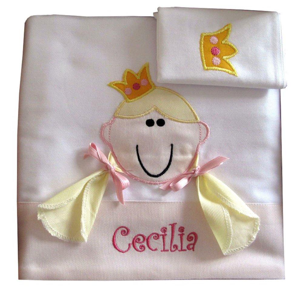 ZIGOZAGO Set per culla o lettino PRINCIPESSA in piquet di cotone in 3 pezzi con nome personalizzato Bordo rosa lenzuolo e coprimaterasso con elastico Federa