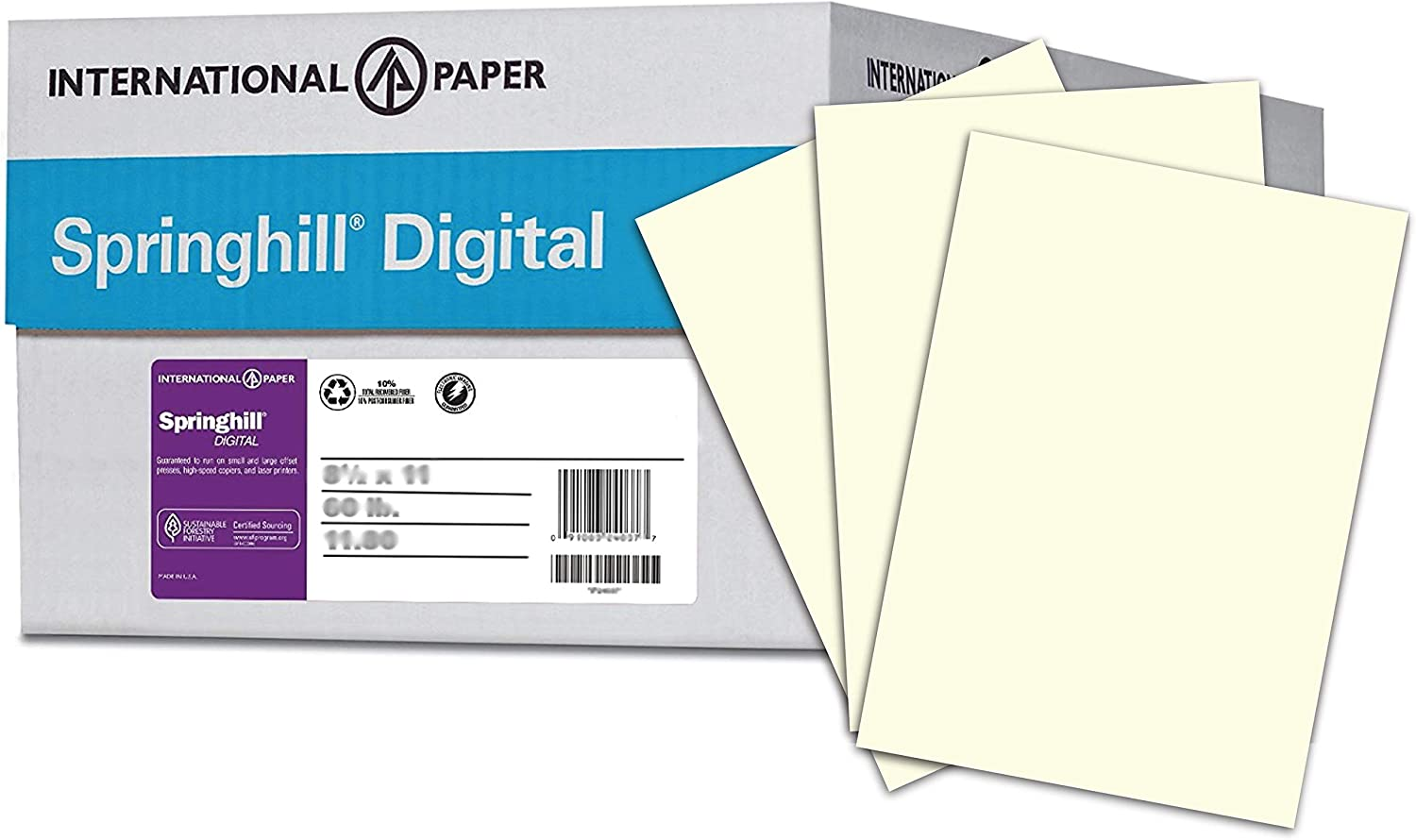 104 gsm 1 Ream // 500 Sheets 11 x 17 printer paper Springhill Cream Colored Paper Pastel Paper with Smooth Finish 024068R 28lb Copy Paper