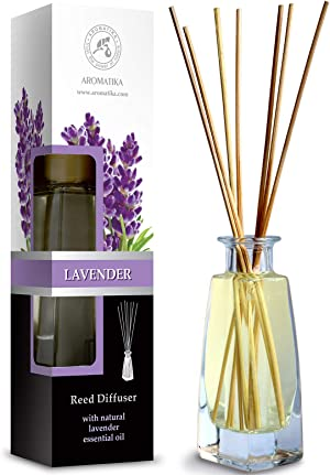 Reed Diffuser with Natural Essential Oil Lavender 3.4 oz (100ml) - Lavanda Diffuser - Scented Reed Diffuser - Non Alcohol - Gift Set w/Bamboo Sticks - Best for Aromatherapy - Home - Office - Fitness