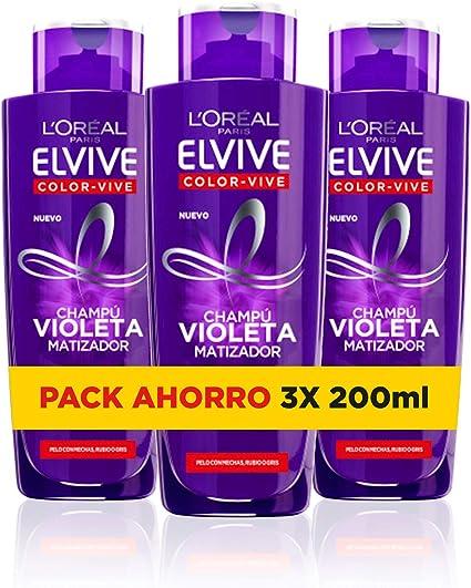 LOreal Paris Elvive Color Vive - Champú Violeta Matizador para Pelo Teñido, Rubio, Decolorado o Gris - Pack Ahorro de 3 Unidades x 200 ml, Total: 600 ml: Amazon.es: Belleza