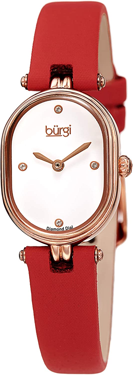 Burgi Petite Designer Women s Watch Satin Over Genuine Calfskin Leather Strap, 4 Genuine Diamond Markers, Glossy Dial, Polished Oval Bezel – BUR229