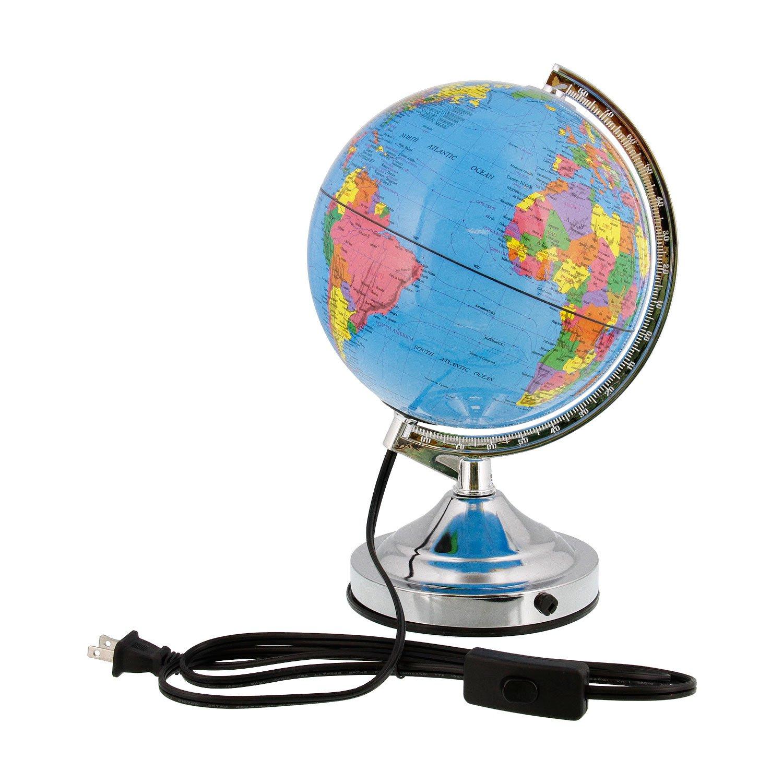 TCP Global 8'' (20cm) Illuminated Blue Ocean Desktop World Globe Black Base