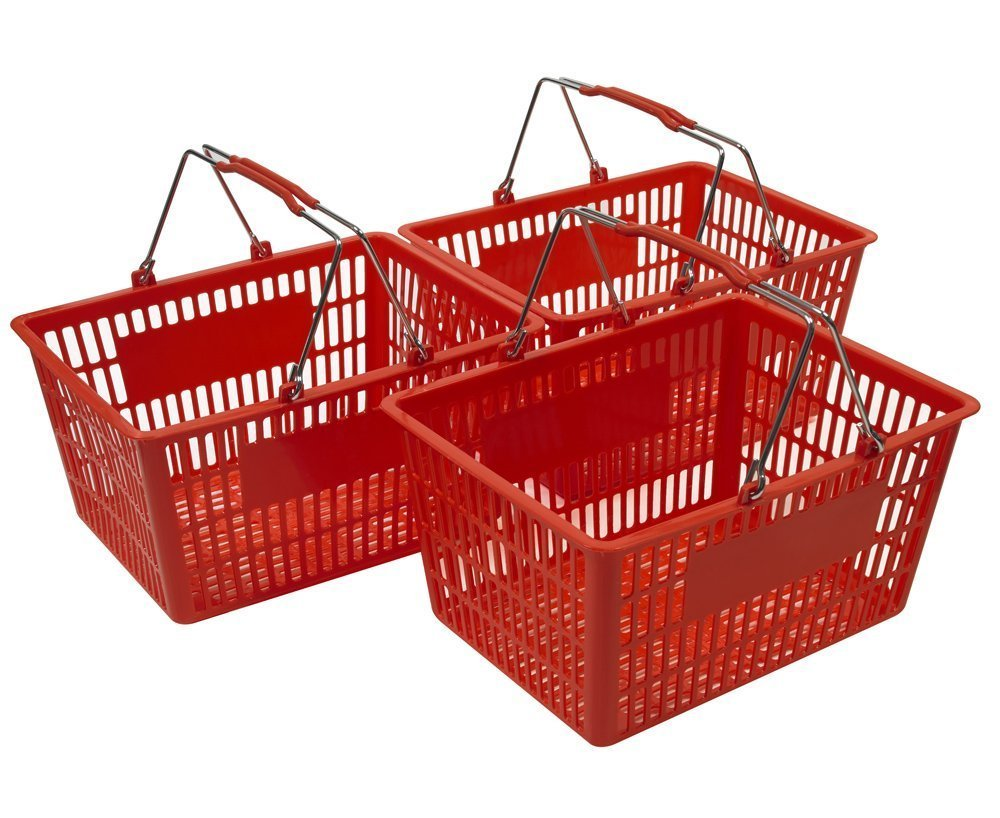 Red Shopping Baskets (Set of 3)